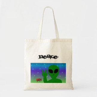 Peaceful Alien Budget Tote Bag