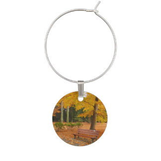 Peaceful and Quiet Autumn in the Park Wine Charm