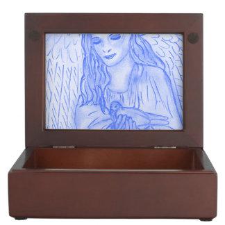 Peaceful Angel in Blue Keepsake Box