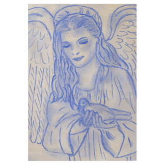 Peaceful Angel in Blue Wood Poster