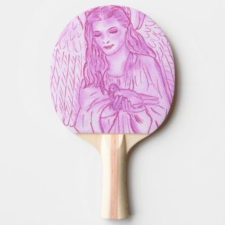 Peaceful Angel in Pink Ping Pong Paddle