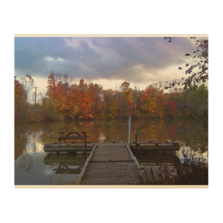 Peaceful Autumn Day by the Shoreline Wood Canvases