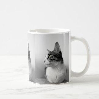 Peaceful Black White Cat Coffee Mug