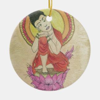 Peaceful buddha round ceramic decoration