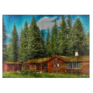 peaceful cabin glass cutting board