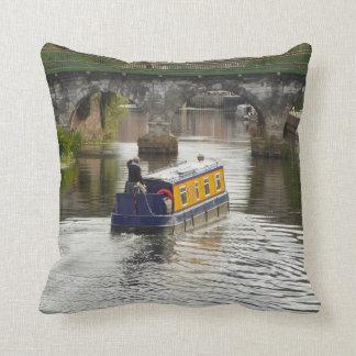 Peaceful Canal and Narrowboat Scene Cushion