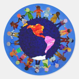 Peaceful Children Around World Sticker: Round Sticker