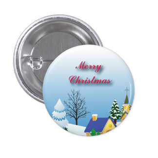 Peaceful Christmas Church 3 Cm Round Badge
