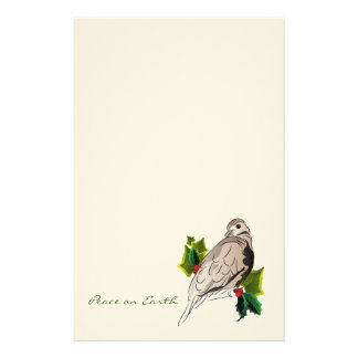 Peaceful Dove with holly and Ivy Christmas Stationery