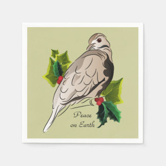 Peaceful Dove with holly and Ivy Disposable Napkin