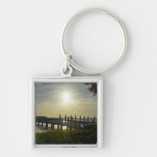 Peaceful Evening At Cooper River Silver-Colored Square Key Ring