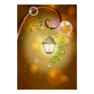 Peaceful Garden Lantern Poster