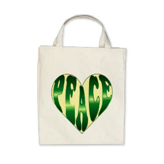 Peaceful heart green & yellow tote canvas bag
