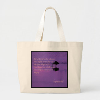 peaceful heron with Zephaniah 3:17 Large Tote Bag