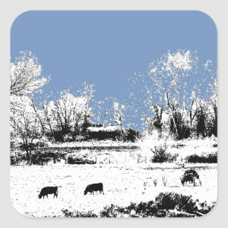 Peaceful Meadow with Cows and Blue Sky Square Sticker