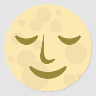 Peaceful Moon Face Round Sticker