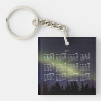 Peaceful Northern Lights; 2013 Calendar Single-Sided Square Acrylic Key Ring