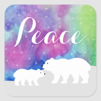Peaceful Northern Lights Holiday Stickers