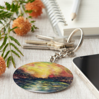 Peaceful Path Basic Round Button Key Ring
