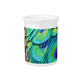 Peaceful Peafowl Flow Drink Pitcher