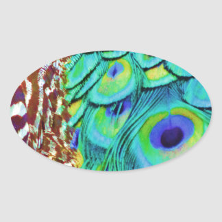 Peaceful Peafowl Flow Oval Sticker