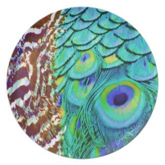 Peaceful Peafowl Flow Party Plates