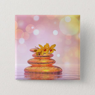 Peaceful pebbles - 3D render 15 Cm Square Badge