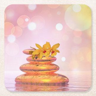 Peaceful pebbles - 3D render Square Paper Coaster