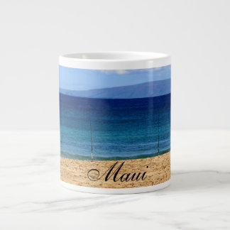 Peaceful picture of fishing rods on a beach, Maui Large Coffee Mug