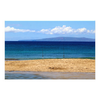 Peaceful picture of fishing rods on a beach, Maui Stationery Paper