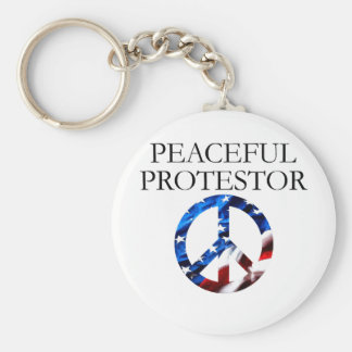 Peaceful Protestor Basic Round Button Key Ring