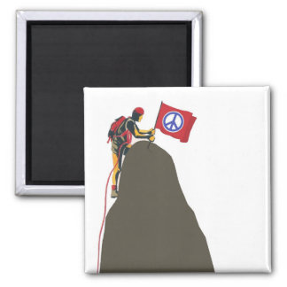 peaceful rock climber square magnet