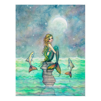 Peaceful Sea Mermaid Fantasy Art Postcard