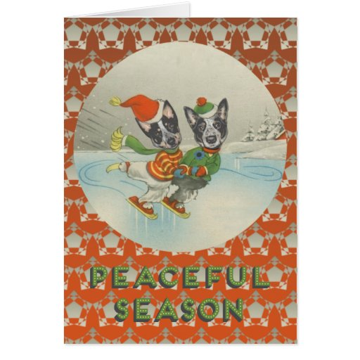 Peaceful Season: Skating Australian Cattle Dogs Cards