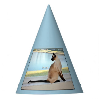 Peaceful Siamese Cat Painting Party Hat