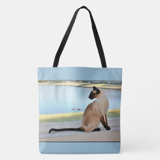 Peaceful Siamese Cat Painting Tote Bag