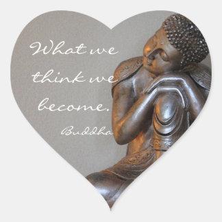 Peaceful silver Buddha Heart Sticker