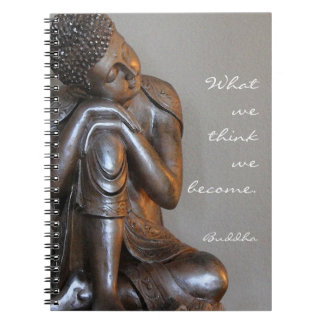 Peaceful silver Buddha with wise quote Notebook