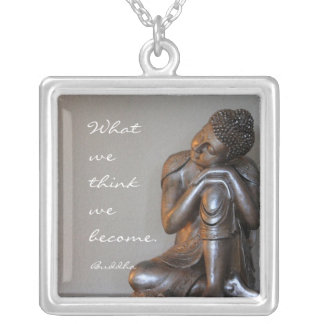 Peaceful silver Buddha with words of wisdom Silver Plated Necklace