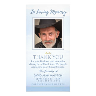 Peaceful Sky Blue In Loving Memory Thank You Card Photo Card