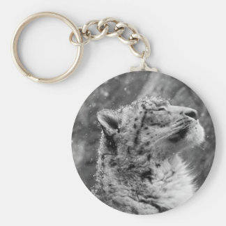 Peaceful Snow Leopard Basic Round Button Key Ring