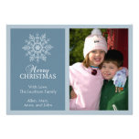 Peaceful Snowflake Christmas Card (Blue Grey) Custom Invitations
