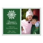 Peaceful Snowflake Christmas Card (Evergreen) Invitation