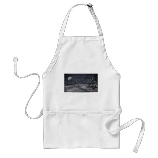 peaceful snowy night chalkboard scene standard apron