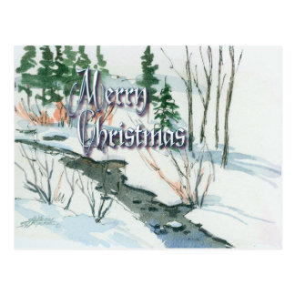 PEACEFUL STREAM & SNOW by SHARON SHARPE Postcard