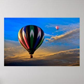Peaceful Sunset Hot Air Balloons Poster