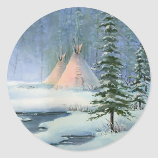 PEACEFUL TIPI by SHARON SHARPE Classic Round Sticker