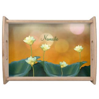Peaceful White Lotus Flowers Namaste Custom Yoga Serving Tray