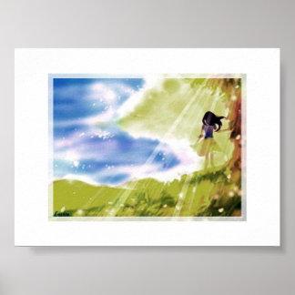 Peaceful wind, sea, tree poster