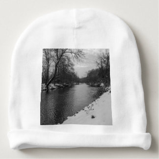 Peaceful Winter At James River Grayscale Baby Beanie
